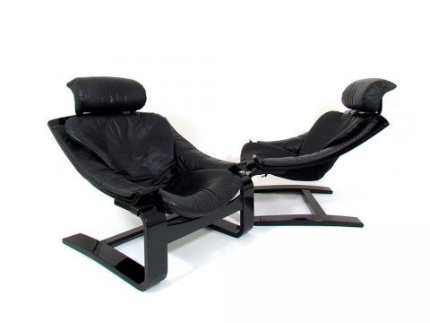 iconicdesign kroken armchair ake fribyter nelo swedish black leather wood poltrona svedese pelle design