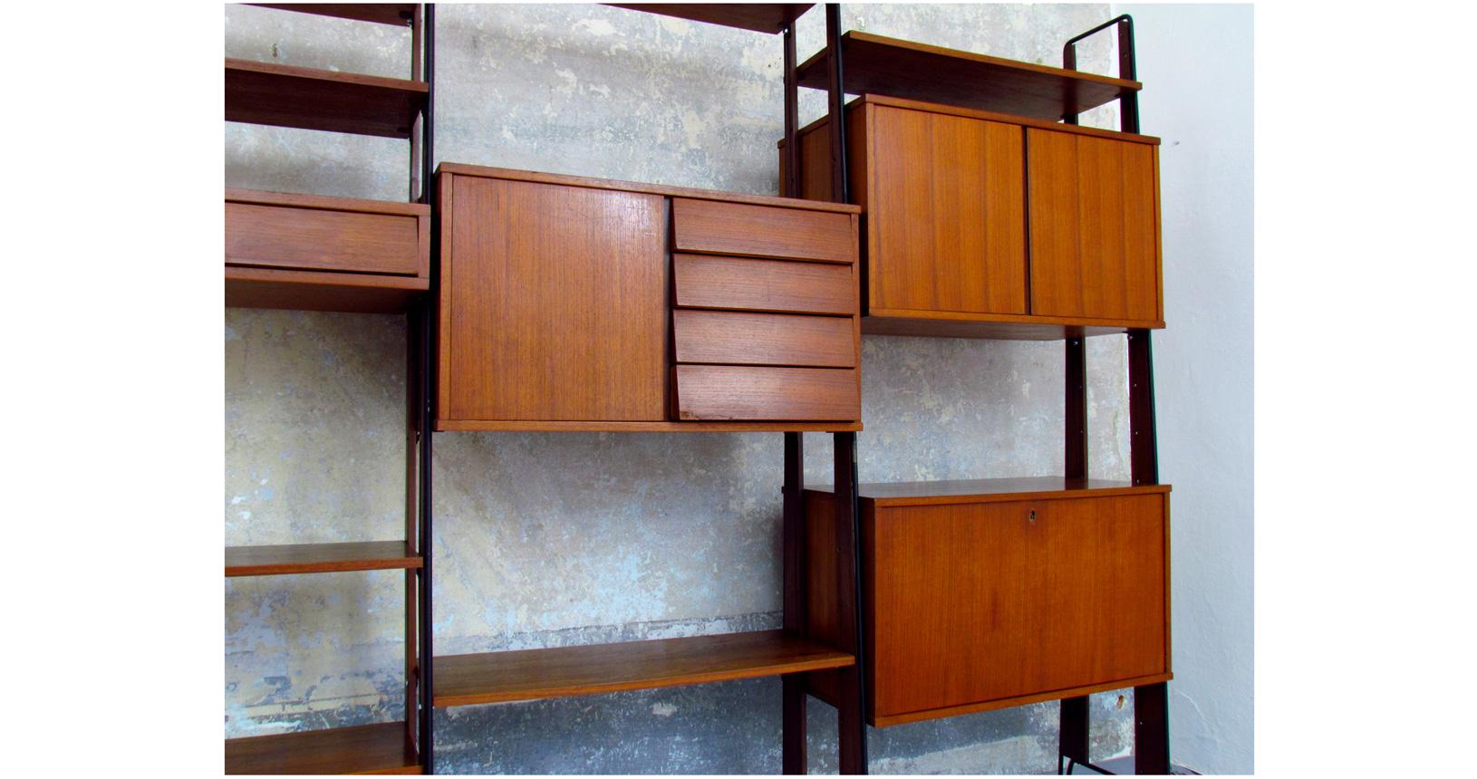 Italian bookcase '60 danish style modular wood svedish teak svedese scandinava scandinavian danese