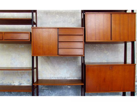 Italian Library '60 danish style modular wood svedish teak svedese scandinava scandinavian danese