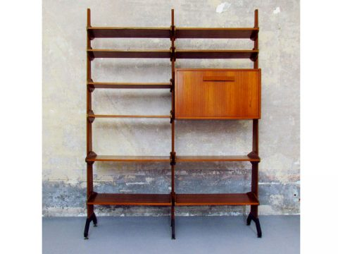 library libreria modular anni '50 italy svedese scandinavo swedish scandinavian teak wood