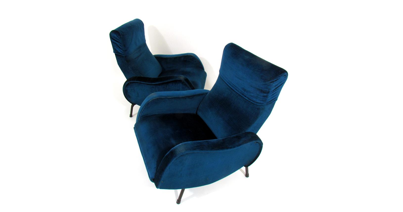 velvet armchairs '60 lady zanuso arflex poltrona velluto