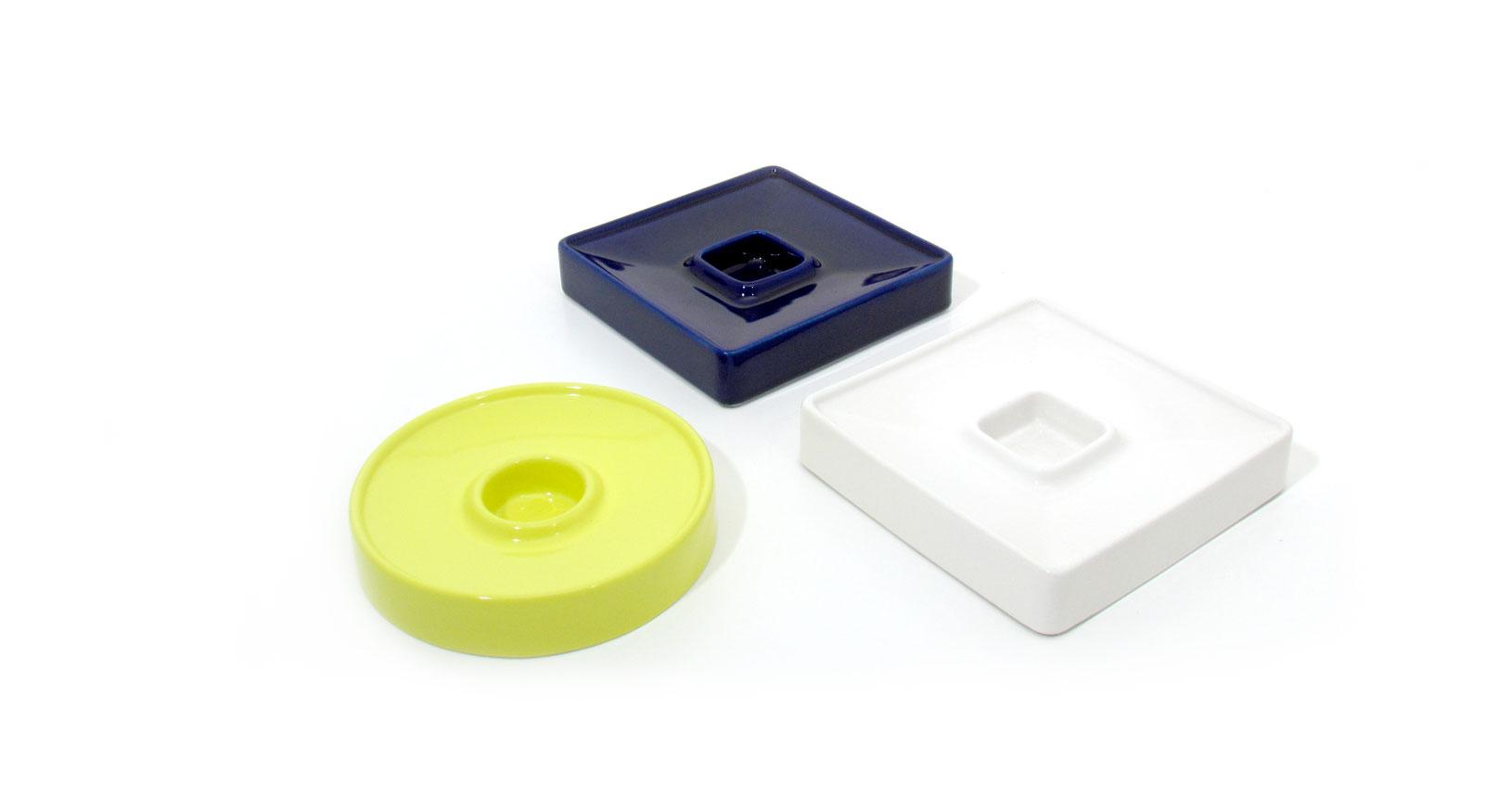 brambilla white yellow blue posacenere ashtray ceramica design vintage iconic design furniture