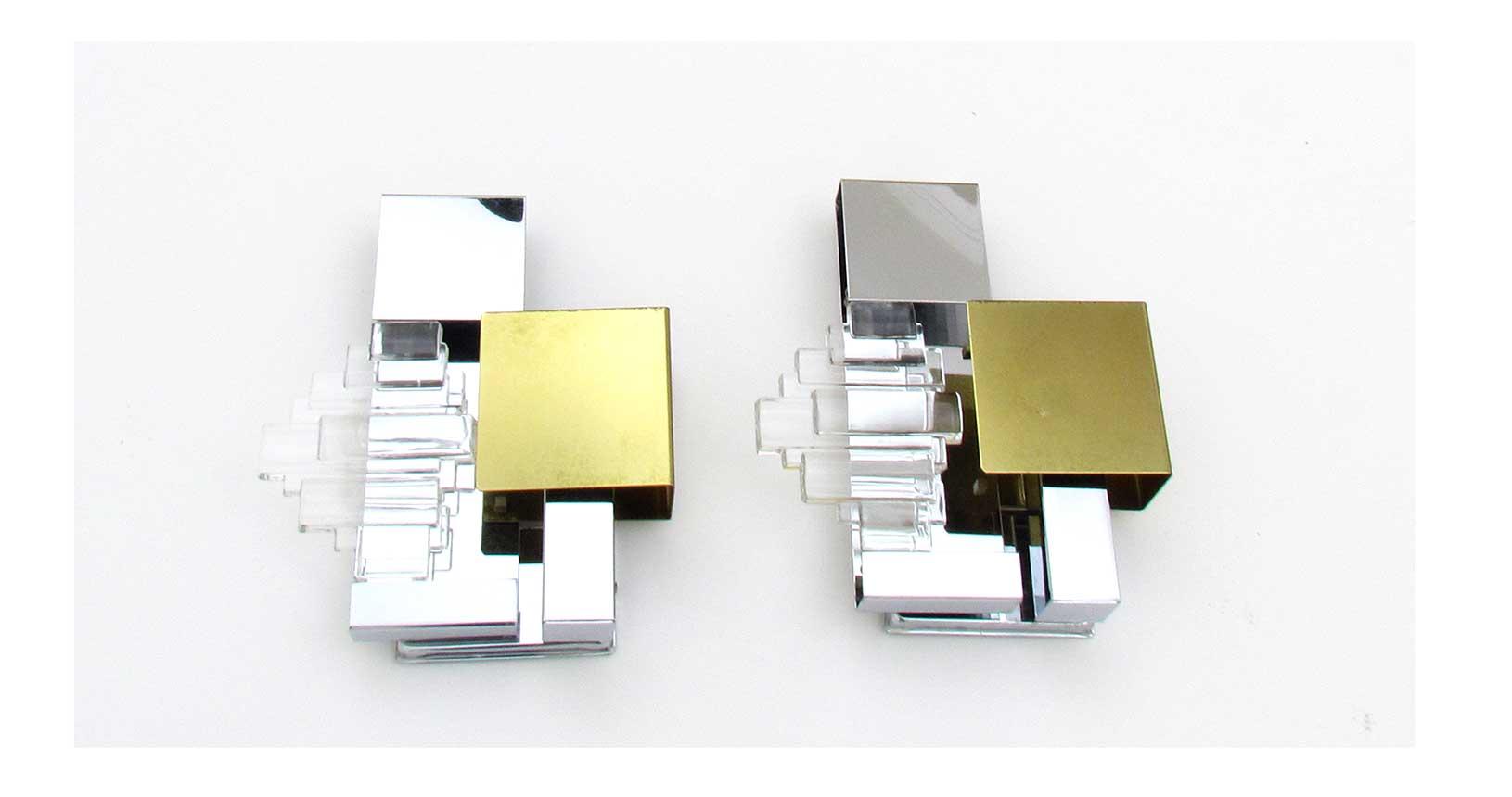 gaetano sciolari applique design vintage furniture iconic design lamp lighting gold metal brass steel ottone acciaio vetro glass